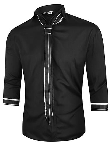 levne Pánské košile-Pánské - Jednobarevné Šik ven Košile Černá