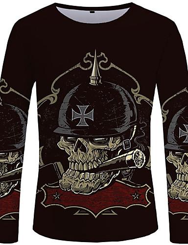 voordelige Heren T-shirts & tanktops-Heren Street chic / overdreven T-shirt Effen / Kleurenblok / Doodskoppen Zwart