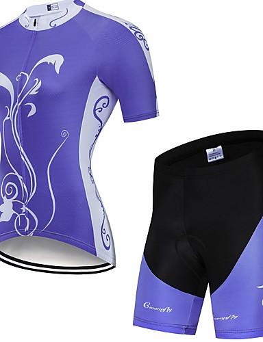 povoljno Odjeća za vožnju biciklom-CAWANFLY Muškarci Žene Kratkih rukava Biciklističke kratke hlače s jastučićima Biciklistička majica Biciklistička majica s kratkim hlačama Plava Cvjetni / Botanički Bicikl Biciklistička majica