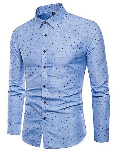 levne Pánské košile-Pánské - Puntíky Košile Světlá růžová