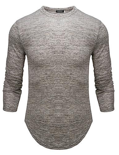 voordelige Heren T-shirts & tanktops-Heren Standaard Print T-shirt Effen Zwart