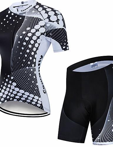 povoljno Odjeća za vožnju biciklom-CAWANFLY Muškarci Žene Kratkih rukava Biciklističke kratke hlače s jastučićima Biciklistička majica Biciklistička majica s kratkim hlačama Crno bijela  / Geometic Bicikl Biciklistička majica Sportska