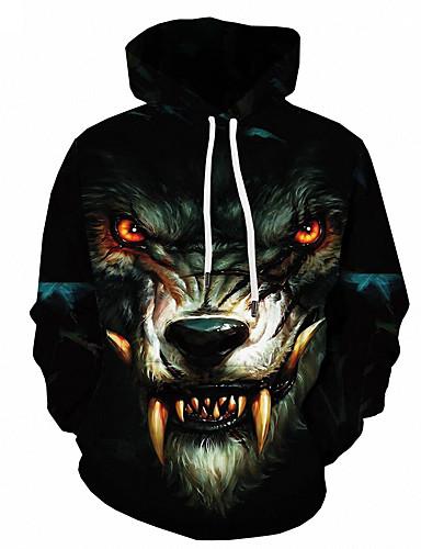 cheap Men's Hoodies Top Seller-Men's Basic Loose Hoodie Jacket - 3D / Animal Hooded Black S