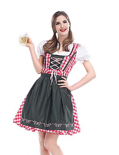 cheap Oktoberfest-Carnival Oktoberfest Beer Dirndl Trachtenkleider Women's Skirt Dress Bavarian Costume