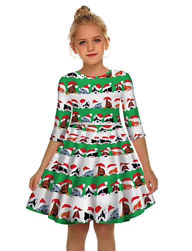Gyerekek Lány Aktív Édes Mikulás Karácsony Féhosszú Térd feletti Ruha Lóhere