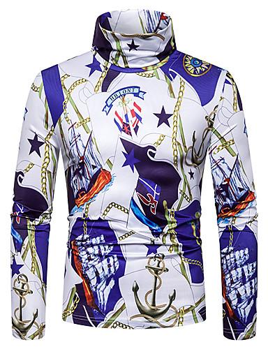 voordelige Heren T-shirts & tanktops-Heren Punk & Gothic Print T-shirt Grafisch Blauw Paars