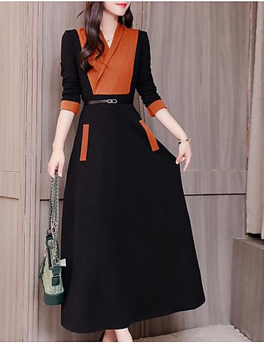 voordelige Maxi-jurken-Dames Schede Klein en zwart Jurk - Kleurenblok Maxi