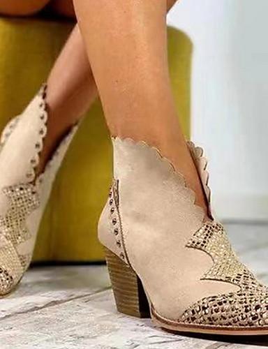 preiswerte Elegante Absatzschuhe & Stiefel-Damen Stiefel Blockabsatz Spitze Zehe PU Booties / Stiefeletten Herbst Winter Schwarz / Braun / Mandelfarben