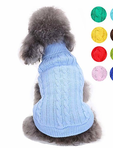 preiswerte Spielzeug & Hobby Artikel-Hunde Pullover Hundekleidung Hellblau Leicht Grün Gelb Kostüm Corgi Beagle Shiba Inu Acrylfasern Solide Simple Style Modisch XS S M L