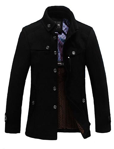levne Pánská saka a kabáty-Pánské Denní Standardní Trenčkot, Jednobarevné Přehnutý Dlouhý rukáv Vlna Černá / Tmavě šedá