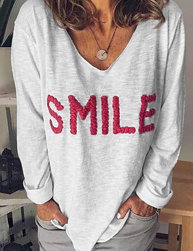 billige Topper til damer-T-skjorte Dame - Bokstaver Svart