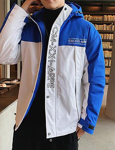 levne Pánské kabáty a parky-Pánské Barevné bloky / Písmeno S vycpávkou, POLY Černá / Bílá / Vodní modrá US32 / UK32 / EU40 / US34 / UK34 / EU42 / US36 / UK36 / EU44