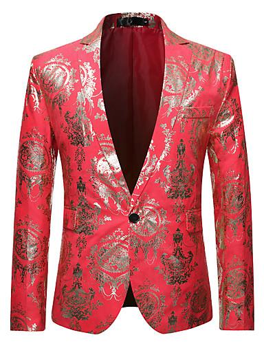 voordelige Herenblazers & kostuums-Heren Blazer, Bloemen Ingesneden revers Polyester Zwart / Fuchsia