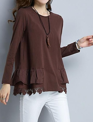 billige Dametopper-T-skjorte Dame - Ensfarget Grå