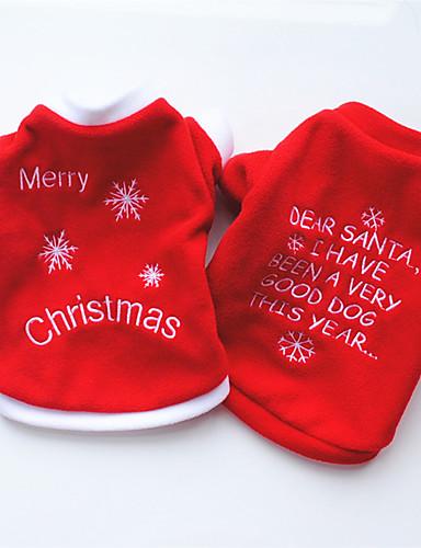 preiswerte Spielzeug & Hobby Artikel-Hunde Pullover Winter Hundekleidung Weiß Rot Kostüm Mops Pudel Chihuahua Polar-Fleece Zitate & Sprüche Cosplay Weihnachten XS S M L