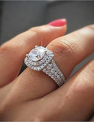 povoljno Ženski modni dodaci-Žene Prsten Kubični Zirconia Sintetički dijamant 1pc Obala Pozlaćeni Gatsby Vjenčanje godišnjica Jewelry Klasičan asfaltirati Vjenčanje