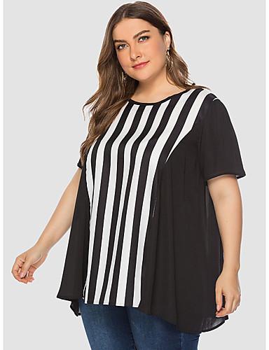 billige T-skjorter til damer-T-skjorte Dame - Stripet, Lapper Grunnleggende Svart og hvit Svart