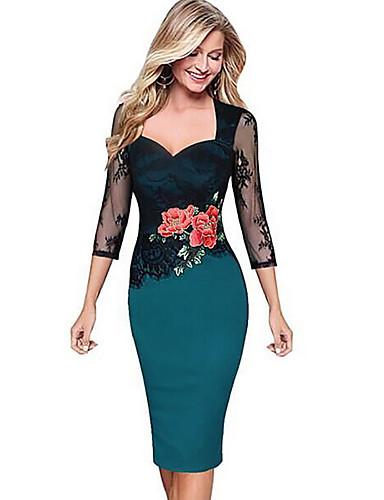 cheap Romantic Lace Dresses-Women's Elegant Slim Bodycon Dress - Floral Lace Print Deep V Purple Yellow Red S M L XL