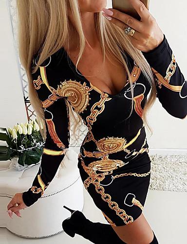cheap Print Dresses-Women's Bodycon Short Mini Dress - Long Sleeve Geometric Print Print Deep U Streetwear Daily Wear Slim Black Blue Purple Red Blushing Pink S M L XL