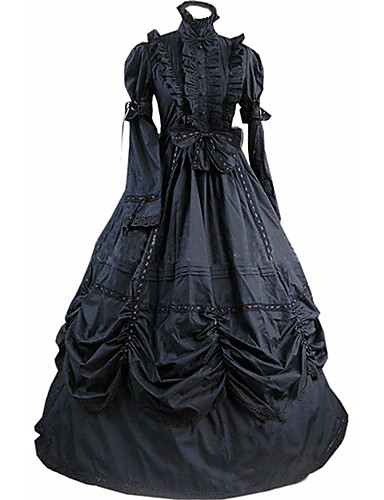cheap Lolita Dresses-Gothic Lolita Victorian Dress Women's Girls' Party Prom Japanese Cosplay Costumes Plus Size Customized Black Ball Gown Vintage Bell Sleeve Long Sleeve Floor Length Long Length / Gothic Lolita Dress