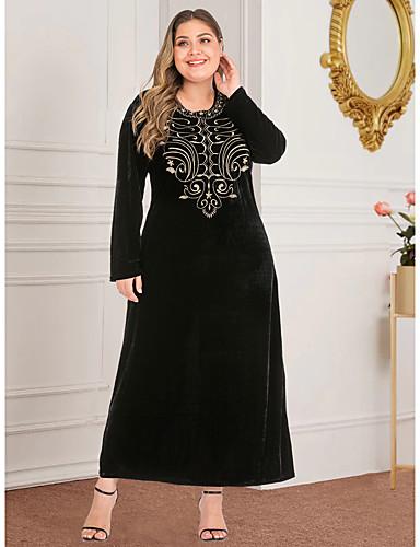 preiswerte Übergrössen-Damen-Damen Retro Grundlegend Etuikleid Abaya Kleid - Gespleisst Druck, Geometrisch Maxi