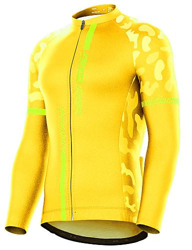 povoljno Odjeća za vožnju biciklom-21Grams Muškarci Dugih rukava Biciklistička majica Crn žuta Vojska Green Kolaž kamuflaža Bicikl Biciklistička majica Majice Brdski biciklizam biciklom na cesti Ugrijati UV otporan Prozračnost Sportski