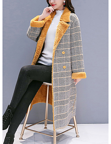 levne Dámské kabáty a trenčkoty-Dámské Denní Podzim zima Dlouhé Kabát, Pepito Klasické klopy Dlouhý rukáv Polyester Žlutá / Hnědá