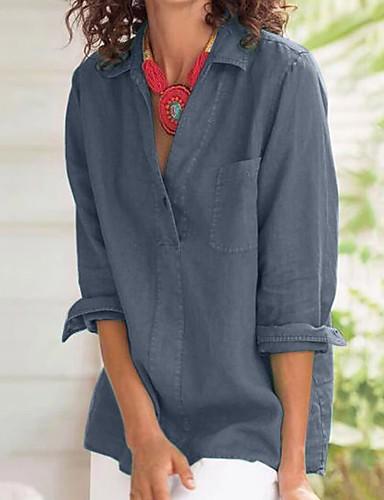 billige Skjorter til damer-Skjorte Dame - Ensfarget, Lapper Gatemote Blå Blå
