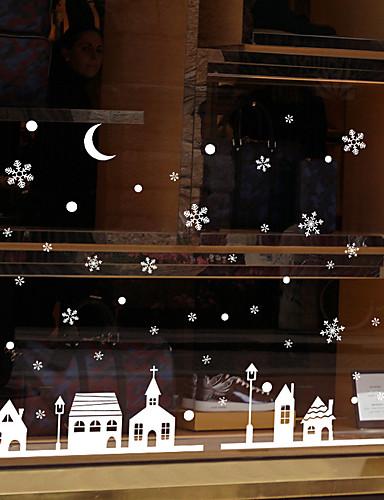 preiswerte Weihnachtswandaufkleber-Fenster Film & Aufkleber Dekoration Mit Mustern / Weihnachten Urlaub / Zeichen PVC Glatte Aufkleber / Fenster-Aufkleber