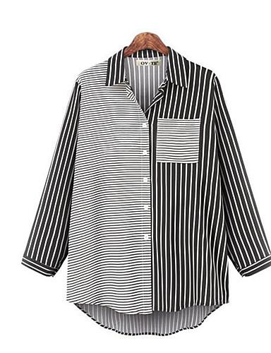 billige Skjorter til damer-Skjorte Dame - Stripet, Lapper Grunnleggende / Gatemote Svart