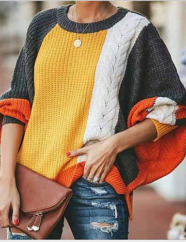 billige Dametopper-Dame Fargeblokk Langermet Løstsittende Pullover Genserjumper Oransje