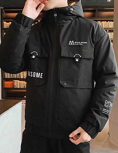 levne Pánské kabáty a parky-Pánské Jednobarevné / Písmeno S vycpávkou, POLY Černá / Trávová zelená US32 / UK32 / EU40 / US34 / UK34 / EU42 / US36 / UK36 / EU44