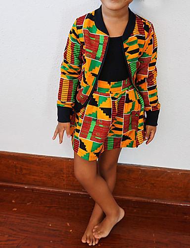 Gyerekek Lány Alap Mértani Hosszú ujj Szokványos Ruházat szett Sárga