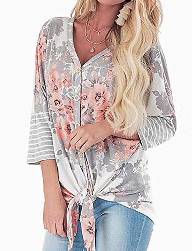 billige Dametopper-Skjorte Dame - Blomstret Lyseblå