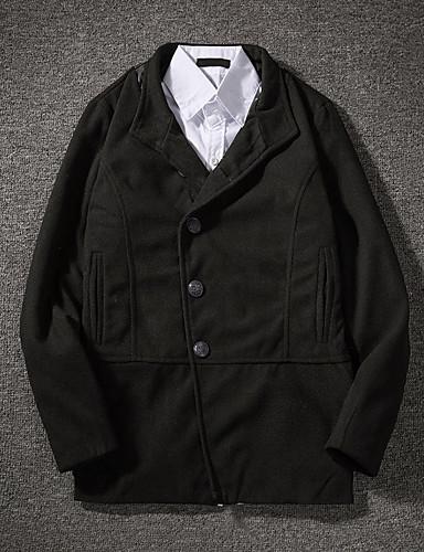 levne Pánská saka a kabáty-Pánské Denní / Práce Podzim zima Standardní Faux Fur Coat, Jednobarevné Kolopy do špičky Dlouhý rukáv Polyester Černá
