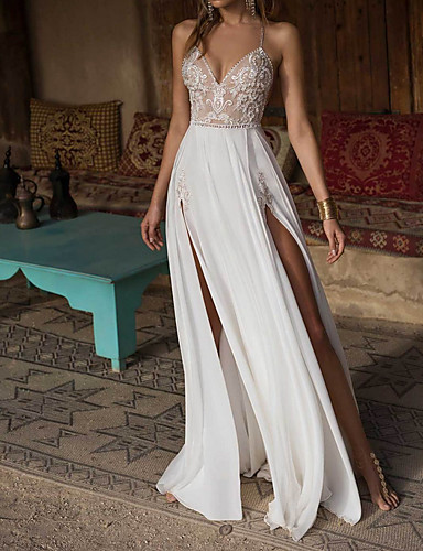 cheap Wedding Dresses-A-Line Wedding Dresses V Neck Floor Length Chiffon Spaghetti Strap Illusion Detail Backless with Appliques Split Front 2020