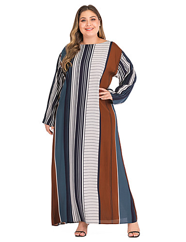 voordelige Grote maten jurken-Dames Standaard Elegant Recht Kaftan Jurk - Gestreept, Print Maxi