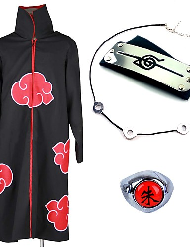 cheap Anime Cosplay-Inspired by Naruto Akatsuki Itachi Uchiha Anime Cosplay Costumes Japanese Cosplay Suits Cosplay Accessories Anime Cloak Necklace Headband For Men's Women's / Ring / Ring