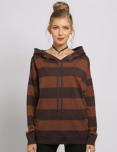 billige Dametopper-Dame Stripet / Fargeblokk Langermet Løstsittende Pullover Genserjumper, Med hette Kamel / Brun / Grønn En Størrelse