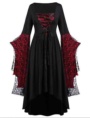 levne Maxi šaty-Dámské Pouzdro Šaty - Barevné bloky, Krajka Patchwork Maxi