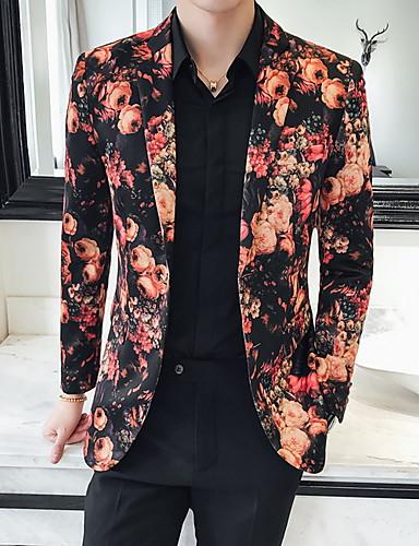 voordelige Herenblazers & kostuums-Heren Blazer, Bloemen Ingesneden revers Polyester Rood