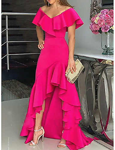 cheap Special Occasion Dresses-A-Line Minimalist Party Wear Formal Evening Dress Off Shoulder Sleeveless Asymmetrical Stretch Satin with Ruffles Split 2020
