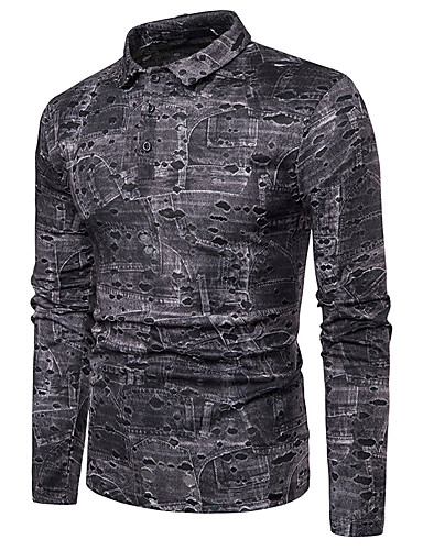 voordelige Herenpolo's-Heren Street chic Cut Out Polo Geometrisch Paars