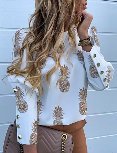 billige Skjorter til damer-Skjorte Dame - Bokstaver / Frukt, Trykt mønster Grunnleggende Ananas Svart