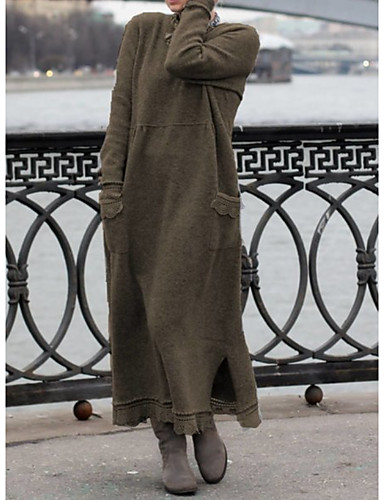 levne Maxi šaty-Dámské Úplet Šaty - Jednobarevné Maxi