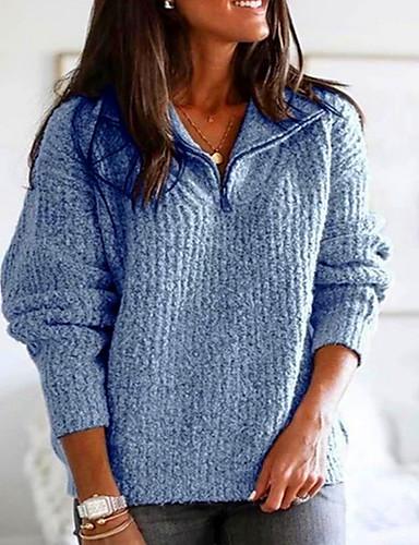 billige Dametopper-Dame Ensfarget Langermet Store størrelser Pullover Genserjumper, V-hals Lyseblå / Rosa / Blå S / M / L