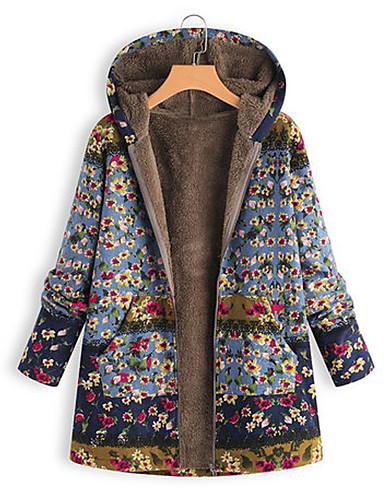 voordelige Dames donsjassen & parka's-Dames Bloemen Normaal Parka, Polyester Blozend Roze / blauw / Klaver S / M / L
