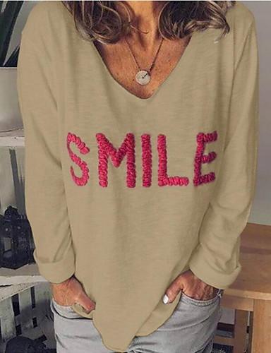 billige Dametopper-T-skjorte Dame - Bokstaver Grunnleggende Svart