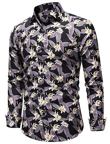 levne Pánské košile-Pánské - Geometrický Košile Žlutá
