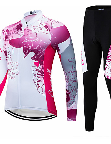 cheap Cycling Jerseys-CAWANFLY Women's Long Sleeve Cycling Jersey with Tights Winter Red and White Floral Botanical Bike Clothing Suit Mountain Bike MTB Road Bike Cycling Breathable Quick Dry Back Pocket Sports Clothing